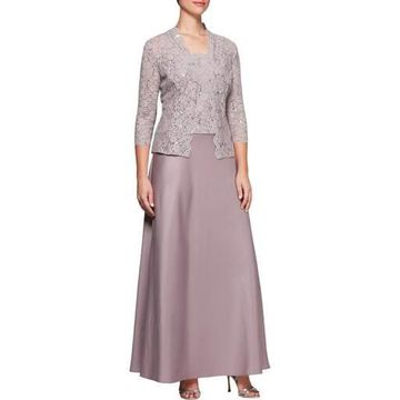Alex Evenings Womens Plus Lace Sequined Dress With Jacket