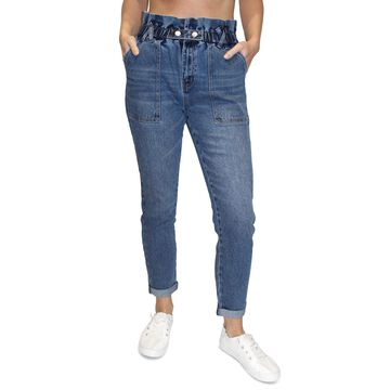 Almost Famous Juniors' Ultra-High-Rise Paperbag-Waist Skinny Jeans
