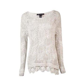 INC International Concepts Women's Lace-Hem Cable Sweater