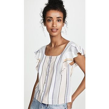 Three Dots Portofino Stripe Flutter Sleeve Top