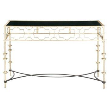 Benzara Unique Patterned Metal Glass Console Table