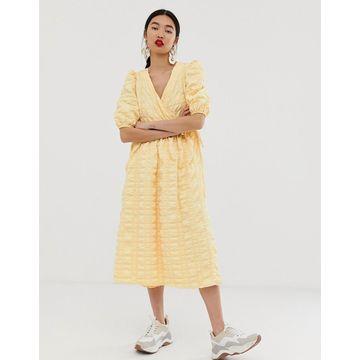 ASOS WHITE wrap textured smock dress