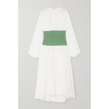 Loewe - Two-tone Smocked Cotton-blend Poplin Midi Dress - White