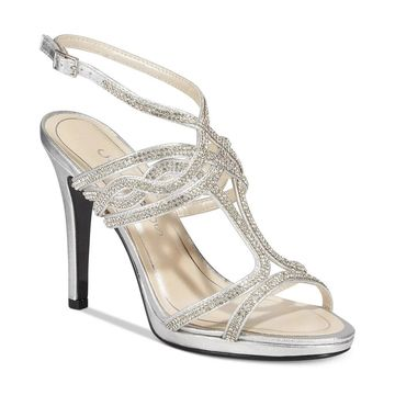 Caparros Heather Embellished Strappy Evening Heeled Sandals Silver Metallic - 10 B(M)