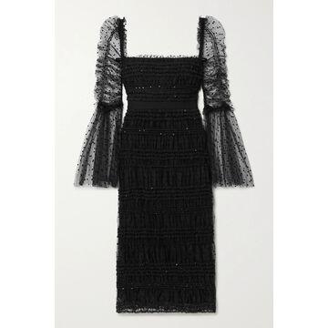 SELF-PORTRAIT - Ruched Sequin-embellished Polka-dot Flocked Tulle Midi Dress - Black
