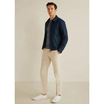 MANGO MAN - Zipper linen cotton jacket dark navy - XL - Men