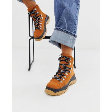 Monki high-top hiking sneakers in brown
