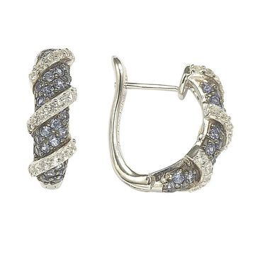 Suzy Levian Sapphire and Diamond Accent in Sterling Silver Petite Wrap Around Earrings