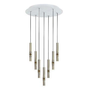 Estiluz Flow LED Multi-Light Pendant Light - Color: Gold - Size: 27