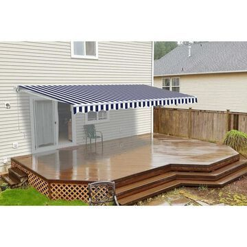 ALEKO Retractable 8 x 6.5 ft Deck Sunshade Patio Awning Blue/White
