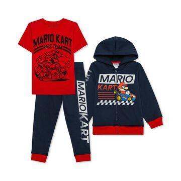 Little Boys 3-Pc. Mario Kart Hoodie, T-Shirt & Joggers Set