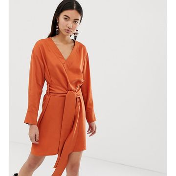 Weekday wrap front dress in dark orange