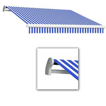 Awntech Maui 144-in Wide x 120-in Projection Bright Blue/White Striped Motorized Retractable Patio Awning | MTL12-L-BBW