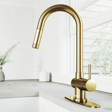 VIGO Gramercy Matte Gold 1-Handle Deck-Mount Pull-Down Handle Kitchen Faucet (Deck Plate Included) | VG02008MGK1