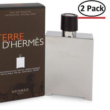 Terre D'Hermes by Hermes Eau De Toilette Spray Refillable (Metal) 5 oz for Men (Package of 2)