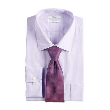 Big & Tall Croft & Barrow Stretch Collar Dress Shirt and Patterned Tie Boxed Set, Men's, Size: 16 36/7T, Med Purple