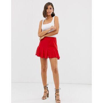 TFNC flippy hem mini skirt in red