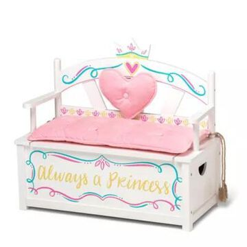 Wildkin Princess Bench Seat With Storage In White