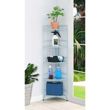 Convenience Concepts Xtra Storage 5 Tier Folding Metal Corner Shelf, Seafoam