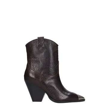 Lola Cruz Texan Ankle Boots In Brown Leather