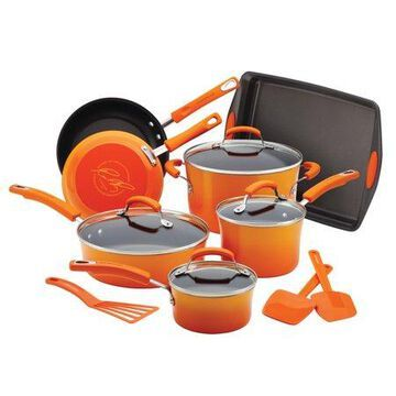Rachael Ray 14-Piece Classic Brights Nonstick Pots and Pans Set/Cookware Set with Bakeware and Utensils, Gradient Orange