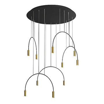 Estiluz Volta Round LED Multi-Light Pendant Light - Color: Gold - Size: 10 light - 113535265_5x035352672SM_5x671000036