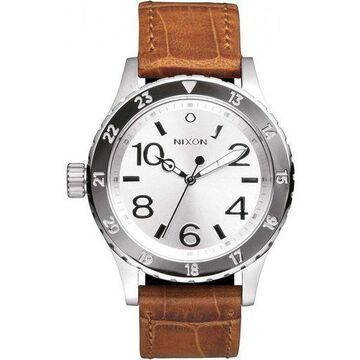 Nixon A467-1888 Mens Brown Leather Band With White Analog Dial Genuine Watch