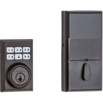Kwikset 909 SmartCode Contemporary Electronic Deadbolt featuring SmartKey Security  in Venetian Bronze