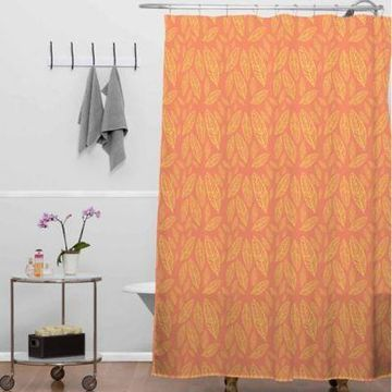 Deny Designs Allyson Johnson Fall Leaves Shower Curtain in Orange/Yellow