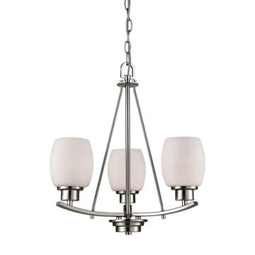 Casual Mission 3-Light Chandelier in in Brushed Nickel with White Lined Glass