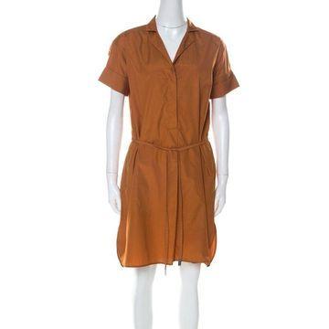Loro Piana Tan Brown Cotton Belted Shirt Dress S