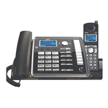RCA ViSYS 25255RE2 2-Line Corded/Cordless Phone, Black/Silver | Quill