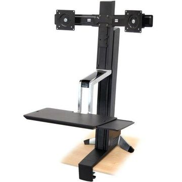 Ergotron WorkFit-S 33-341-200 Dual Sit-Stand Workstation - Steel, Plastic, Aluminum - Black Ergotron WorkFit-S 33-341-200 Dual Sit-Stand Workstation - Steel, Plastic, Aluminum - Black