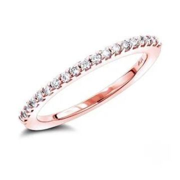 Luxurman 14k Gold 3/8ct TDW Diamond Wedding Band (Rose - 5)