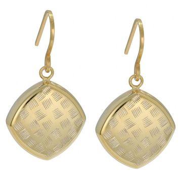Fremada 10k Yellow Gold Diamond-cut Puffed Square Dangle Earrings (Earrings)