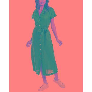 Three Dots Linen Collar Dress