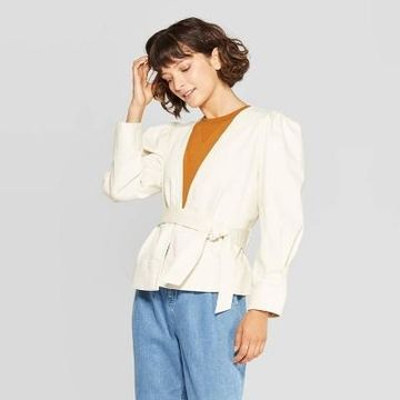 Women's Puff Long Sleeve Open Front Jacket - Who What Wear