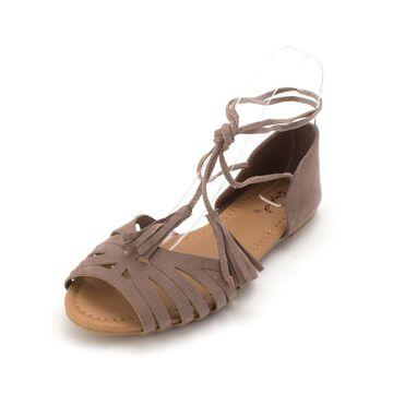Qupid Womens Palmer Peep Toe Casual Slide Sandals