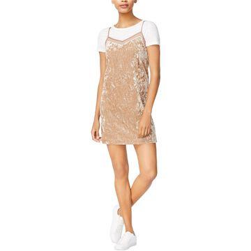 Kensie Womens Crushed Velvet Slip Dress