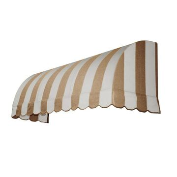 Awntech Savannah 52.5-in Wide x 24-in Projection Linen/White Striped Striped Waterfall Window/Door Fixed Awning in Off-White