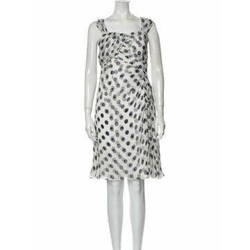 Silk Knee-Length Dress White