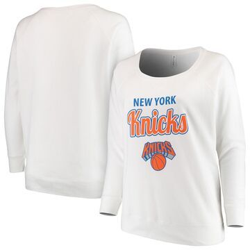 New York Knicks Soft as a Grape Women's Curvy French Terry Slouch Crew Neck Sweatshirt - White