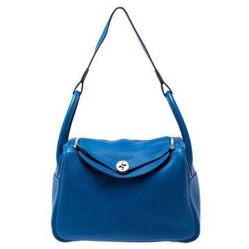 Hermes Blue Clemence Leather Lindy 30 Bag