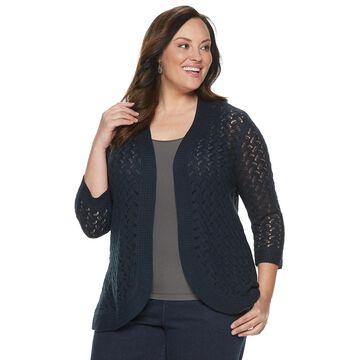 Plus Size Napa Valley 3/4 Sleeve Pointelle Cardigan