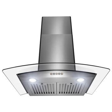 Golden Vantage 30 in. Stainless Steel and Glass Push Panel Kitchen Range Hood