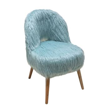 Jeco Blue Faux-Fur Curly Back Chair With Natural Legs