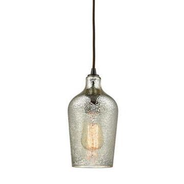 Elk Lighting Hammered Glass 1-Light Pendant In Oiled Bronze With Silver Glass Shade
