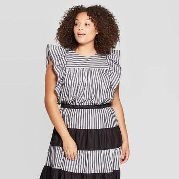 Women's Plus Size Striped Short Ruffle Sleeve Scoop Neck Baby Doll Top - Who What Wear Black