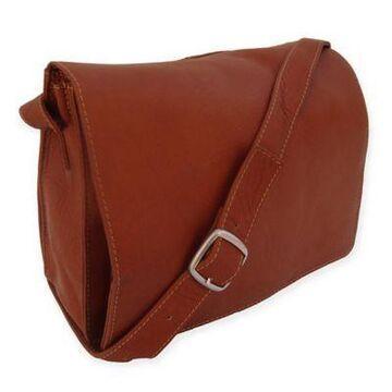 Piel Leather Small Handbag with Organizer in Saddle