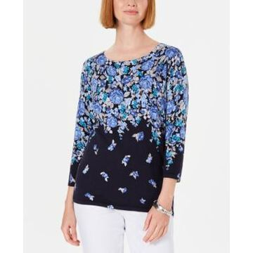 Karen Scott Floral-Print Sweater, Created for Macy's